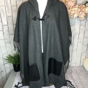 NEW Charming Charlie gray faux leather cape Shaw